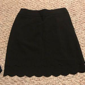 Loft , 0 petite , black , scallop pencil skirt